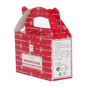 Dragon's Blood - Satya Backflow Incense Cones Box Side