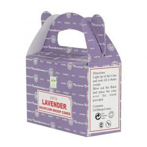 Lavender - Satya Backflow Incense Cones Box Side