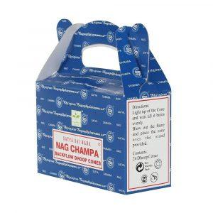 Nag Champa - Satya Backflow Incense Cones Box Side
