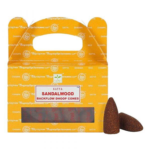 Sandalwood - Satya Backflow Incense Cones Box