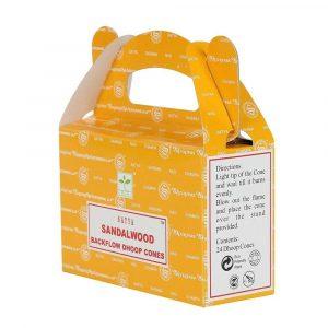 Sandalwood - Satya Backflow Incense Cones Box Side