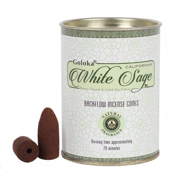 White Sage - Goloka Backflow Incense Cones