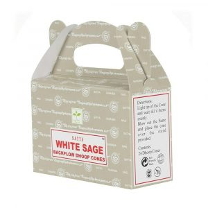 White Sage - Satya Backflow Incense Cones Box Side