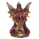 Small Red Dragon Head Backflow Incense Burner Front View
