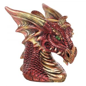 Small Red Dragon Head Backflow Incense Burner Side View